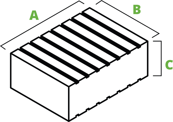 Low-profile rubber block spec diagram